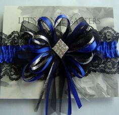 Royal Blue And Black Wedding Garter Set With Star By StarBridal 2995