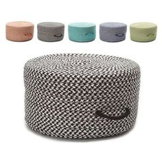 Shop for Polypropylene 11-inch High x 20-inch Deep Vibrant Houndstooth Textured Handled Pouf Ottoman. Get free shipping at Overstock.com - Your Online Home Decor Outlet Store! Get 5% in rewards with Club O! - 20405555