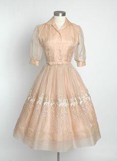 HEMLOCK VINTAGE CLOTHING : 1950's Embroidered Silk Organza Dress