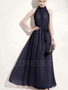 Ericdress Amazing Stand Collar Sleeveless Pure Color  Maxi Dress Maximum Style