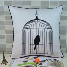 Poduszka dekoracyjna Bird in a cage - sprawdź nah www.przytulnie.com/poduszka-dekoracyjna-bird-in-a-cage-id-9.html Bird In A Cage, Drawstring Backpack, Throw Pillows, Retro, Bags, Vintage, Handbags, Toss Pillows, Cushions