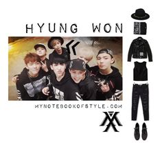 """""""Inspired by Hyung Won in Monsta X's Trespass MV"""" by yooane ❤ liked on Polyvore featuring ASOS, Theory, Current/Elliott, H&M, Urban Renewal, Off-White, kpopoutfits, monstax and hyungwon"""