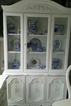 Beautiful Shabby Chic French Cottage White Hutch China Cabinet Gorgeous | eBay
