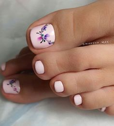 Pedicure Designs, Pedicure Nail Art, Toe Nail Designs, Toe Nail Color, Toe Nail Art, Square Gel Nails, Disney Nail Designs, Feet Nail Design, Cute Gel Nails