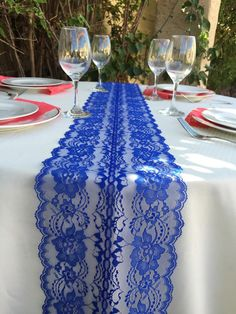 Lace Table Runner ROYAL BLUE/Wedding Decor/ von LovelyLaceDesigns