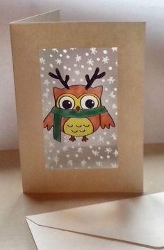 wicoart carte de vux window color paint main chouette renne noel owl christmas - Windows Color Noel