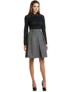 Prada Grey Pleated Silk Skirt