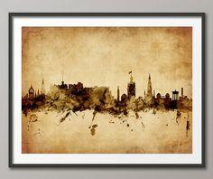 Edinburgh Skyline, Edinburgh Scotland Cityscape Art Print (1790) by artPause on Etsy