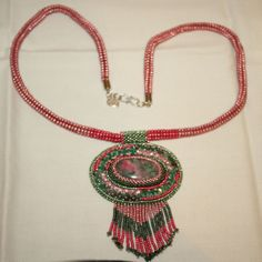 Gorgeous Pink and Green Thulite Gemstone Cabochon Bead Embroidered Necklace with Genuine Emeralds and Swarovski Crystals