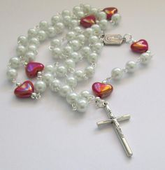 Traditional White Rosary Beads, Five Decade Rosary, Rosary with Hearts, First Communion Rosary, Bridal Rosary by AwfyBrawJewellery on Etsy
