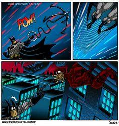 """Batman's grappling hook gun almost causes Daredevil to choke"""