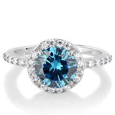Silvertone March Imitation Birthstone Ring Light Blue CZ ** Click image for more details. (This is an affiliate link) Aquamarine Birthstone Ring, 2 Carat, Birthstones, Light Blue, Sapphire, Engagement Rings, March, Sterling Silver, Celebrate Life