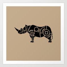 Rhinoceros Art Print by Hinterlund - $18.00
