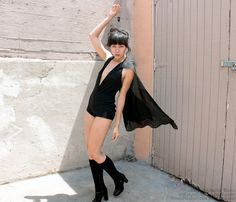 Black Playsuit with Cape - Witchy One Piece - Rock n Roll Romper - Superhero Onesie - Superheroine Unitard - Glam Leotard - Luxury Cosplay