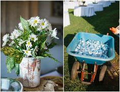 water bottles in a wheelbarrow