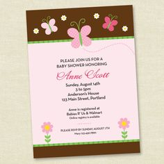 Butterfly Baby Shower - Pink and Brown- Printable Digital Invitation - Personal Use Only. $10.00, via Etsy.