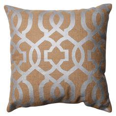 Pillow Perfect Geometric Burlap Throw Pillow - Tan (16.5)