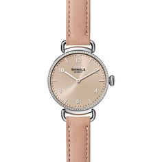 Shinola 32mm Canfield Watch with Diamonds (3 670 BGN) ❤ liked on Polyvore featuring jewelry, watches, buckle watches, leather strap watches, diamond jewelry, diamond watches and water resistant watches