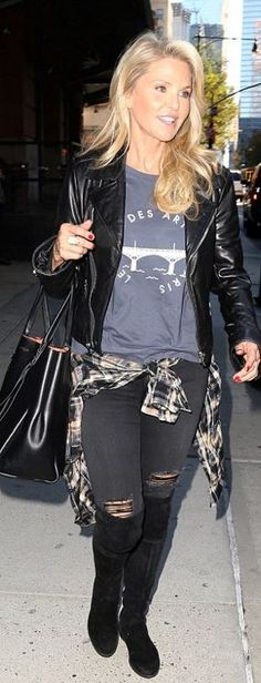 Who made Christie Brinkley's black suede thigh high boots and print tee?