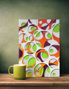 abstract geometry geometric circle cut out green orange yellow gray trendy modern gradient circular Abstract