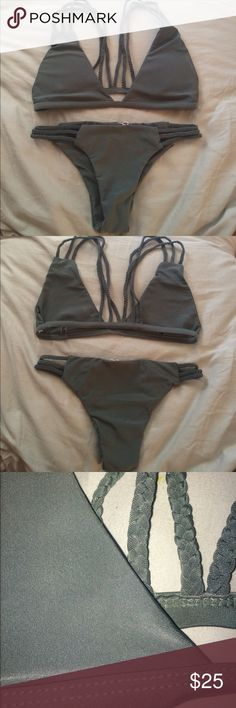 Army Green Bikini (Medium) This bikini runs small, and the bottoms are a little bit cheeky. The top fits a B-D cup. Bigger the breasts the more they show (obviously). Zaful Swim Bikinis