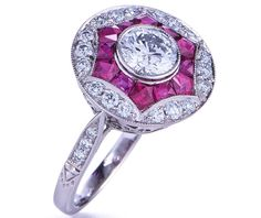 Art Deco Engagement ring with Pink sapphires and pave diamonds
