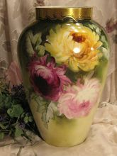 """GORGEOUS Chrysanthemums Large 13-1/4"""" Antique Hand Painted Limoges France Vase Superb Artistry Floral Art China Paintings Original ONE-OF-A-KIND Artist Signed D circa 1900"""
