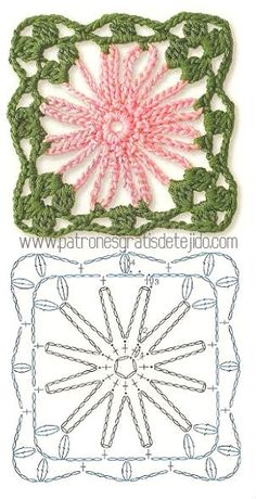 How to Crochet Flower, Make a Granny Square and Join Them Point Granny Au Crochet, Granny Square Crochet Pattern, Crochet Diagram, Crochet Chart, Crochet Squares, Knit Or Crochet, Crochet Doilies, Crochet Flowers, Crochet Stitches