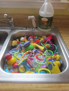 To kill everyday bacteria or if your baby has thrush and you need to kill yeast, soak toys and teethers in hot water and white vinegar for 30 min. Also wash towels and washcloths and burp cloths in vinegar and put out in sun to dry.