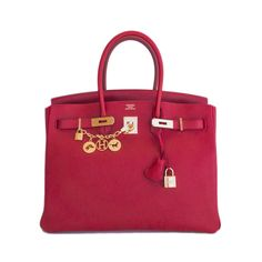 Hermes Birkin Bag 35cm Rouge Casaque Lipstick Red Clemence Gold Hardware