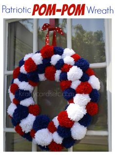 Patriotic Pom-Pom Wreath