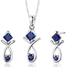 Created Sapphire Pendant Earrings Necklace Sterling Silver Rhodium Nickel Finish Princess Cut 2 Carats >>> Learn more by visiting the image link.(This is an Amazon affiliate link and I receive a commission for the sales)