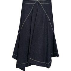 Marni Asymmetric denim skirt (5.677.550 IDR) ❤ liked on Polyvore featuring skirts, flare skirt, dark blue denim skirt, asymmetrical zipper skirt, zipper skirt and flared denim skirt