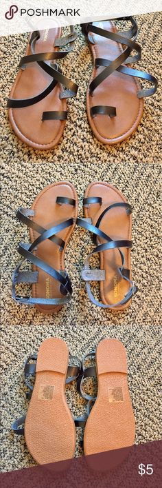 Strappy black leather sandals Strappy crisscross sandals from Khols. Only worn to try on. Perfect condition, they just don't fit me. Identical to the last photo, only the soles are a tan brown. Sonoma Shoes Sandals