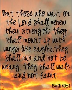 Those who wait on the Lord shall renew their strength! ~ Isaiah 40:31