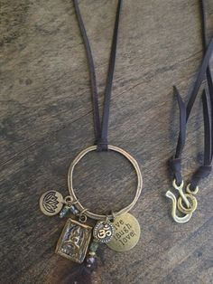 Bohemian Leather Charm Necklace Boho Chic by TwoSilverSisters, $42.00