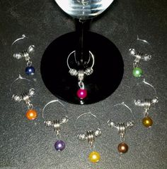 8 PC Set Mixed Valentine's Day Pearl Silver Wine Glass Charms Markers New   eBay