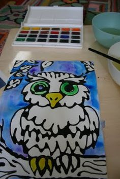 Black glue and watercolor resist