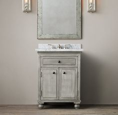 """Restoration Hardware Light Zinc Powder Vanity sink $1250 - $1845 Brushed, zinc-clad aluminum in a lightly aged grey patina & antiqued cast-iron hardware. 1¼""""-thick Italian Carrara, Crema or Pietra Grigio marble top hand-finished, sealed twice for longevity and pre-drilled to accommodate 8"""" widespread faucet sets & our 19"""" undermount basin (included) Backsplash measures 26½""""W x 1¼""""D x 3""""H Vanity Sink: 27""""W x 21½""""D x 34""""H Vanity Base: 26½""""W x 21½""""D x 32½""""H"""