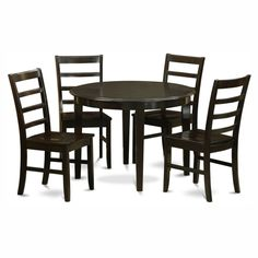 East West Furniture Boston 5 Piece Round Dining Table Set with Parfait Wooden Seat Chairs - BOPF5-CAP-W