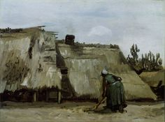 Vincent van Gogh Dutch, 1853-1890 A Peasant Woman Digging in Front of Her Cottage, c. 1885
