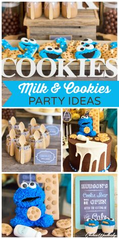 Cookie Monster shows up at this incredible Milk and Cookies boy birthday party! See more party ideas at CatchMyParty.com!