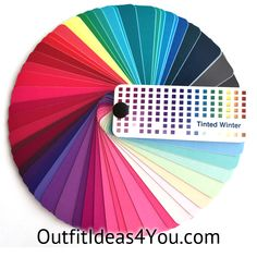 """This gorgeous color fan has60 colorsfrom the coolwintercolor palette. Folds up into a perfect size for carrying in your purse for shopping: 2.25"""" x 1"""" x 1"""" Each color in the fan has on the back:   Color: the name of the color Temperature: Warm, Cool or Neutral Wardrobe U"""