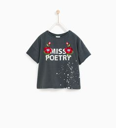 10c0f2a9104fb T - SHIRT WITH FLORAL EMBROIDERIES AND SLOGAN-COLLECTION-SALE-GIRL   5 - 14  years-KIDS