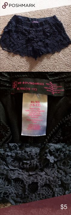 Black lace shorts Size XL smoke free home worn once No Boundaries Shorts