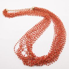 Find it at the Foundary - Boho Red/Gold Strand Beaded Necklace