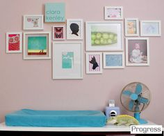 love this collage for a kids room---the eclectic mix of prints, all white frames, and the arrangement itself