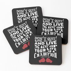 Don't Quit ~ Muhammad Ali Coasters (Set of 4) by 99designstudioCo on Etsy Cristiano Ronaldo Juventus, Mask Shop, Black Mamba, Muhammad Ali, Coaster Set, Etsy Store, How Are You Feeling, Handmade, Craft