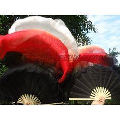 new belly dance silk fan veil, black-red-white