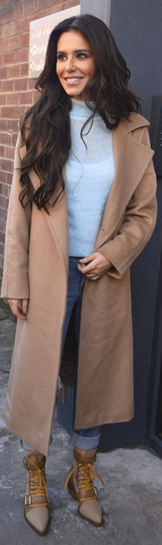 Who made Cheryl Cole's tan wrap coat, blue sweater, and cut out lace boots? Cheryl Cole Style, Girls Aloud, Fashion Dictionary, Wrap Coat, Max Mara, Blue Sweaters, Chloe, Duster Coat, Singer